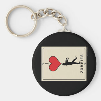 I Love Zombies Basic Round Button Key Ring