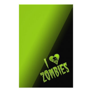 I Love Zombies Horror Monster Personalized Stationery
