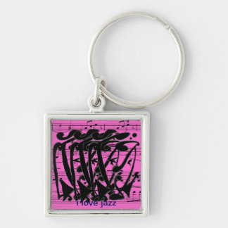 i love zz Abstract Silver-Colored Square Key Ring