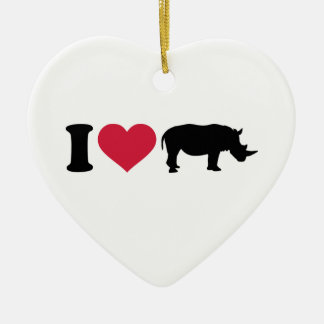 I loves Rhinos Double-Sided Heart Ceramic Christmas Ornament