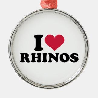 I loves Rhinos Round Metal Christmas Ornament