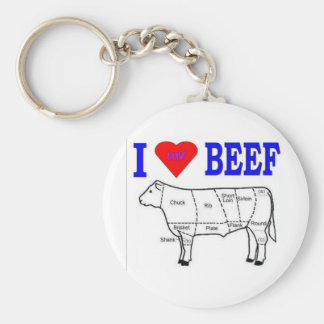 I LUV BEEF KEY RING