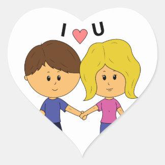 I Luv U Chibi Couple Heart Sticker
