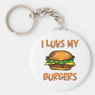 I Luvs Burgers Basic Round Button Key Ring