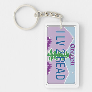 """""""I LV 2 READ"""" License Plate Keychain"""