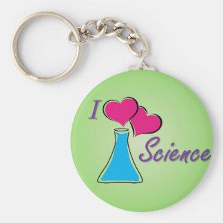 I LV Science Basic Round Button Key Ring