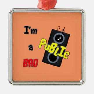 I'm a bad public speaker Silver-Colored square decoration
