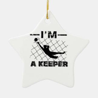 I'm a Keeper – Soccer Goalkeeper designs Ceramic Ornament