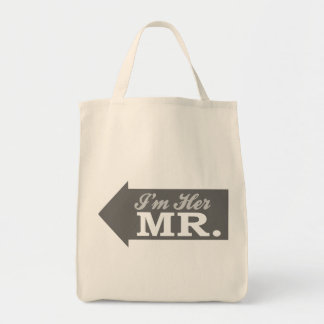 I m Her Mr Gray Arrow Tote Bags