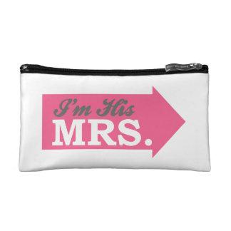 I m His Mrs Hot Pink Arrow Makeup Bags