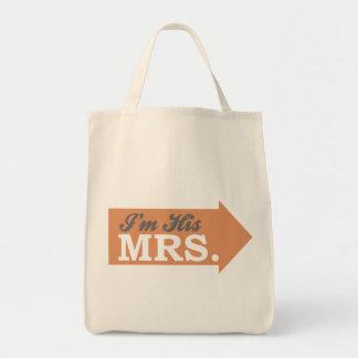 I m His Mrs Orange Arrow Tote Bag