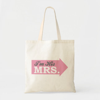 I m His Mrs Pink Arrow Tote Bags