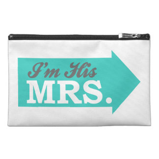 I m His Mrs Teal Arrow Travel Accessory Bags