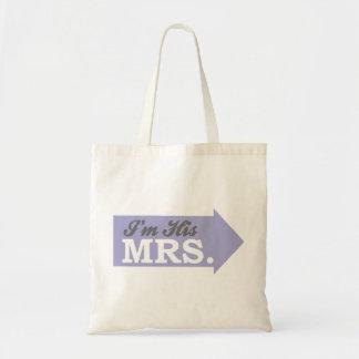 I m His Mrs Violet Purple Arrow Canvas Bags