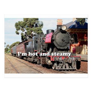 I m hot and steamy Goldfields steam locomotive Postcard