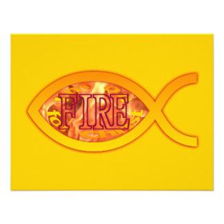 I m on FIRE for Christ - Christian Fish Symbol Invitations