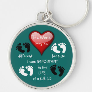 I Made A Difference ~ Keychain.3 Silver-Colored Round Key Ring