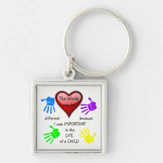 I Made A Difference ~ Premium Keychain.2 Silver-Colored Square Key Ring
