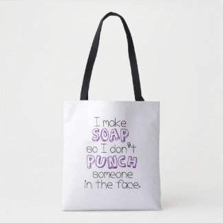 """I Make Soap"" Quote Tote Bag - Purple"