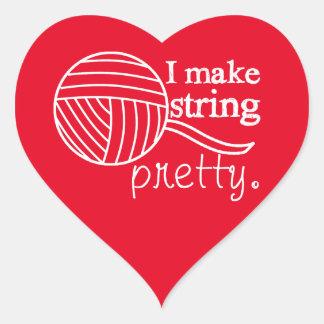 I Make String Pretty Crafts {Any Colour Dark} Heart Sticker