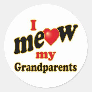 I Meow My Grandparents Round Sticker