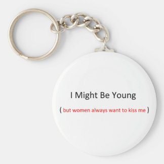 i might be young keychain