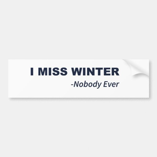 I Miss Winter Said Nobody Ever Bumper Stickers