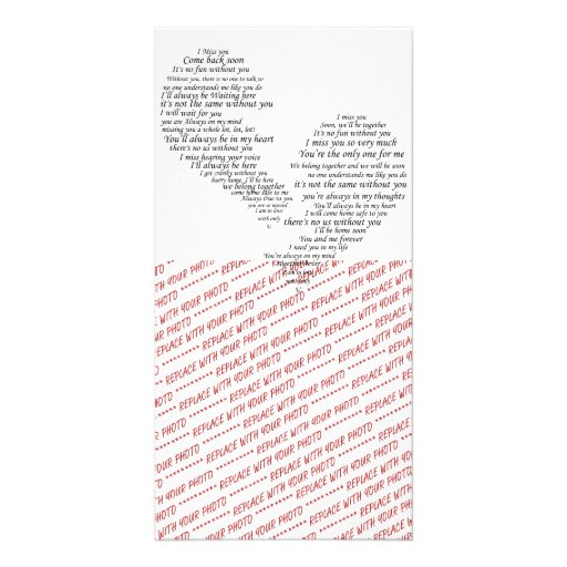 I Miss You - Broken Separated Heart Photo Greeting Card
