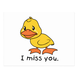 I Miss You Crying Yellow Duckling Duck Card Stamps Postcard