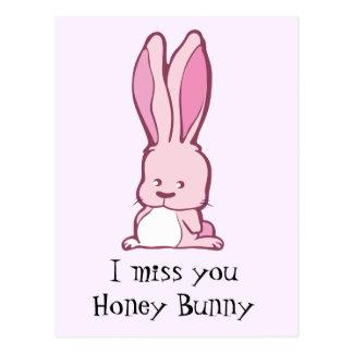 I miss you honey bunny postcard