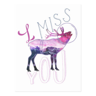 I Miss You Moose in Space Postcard