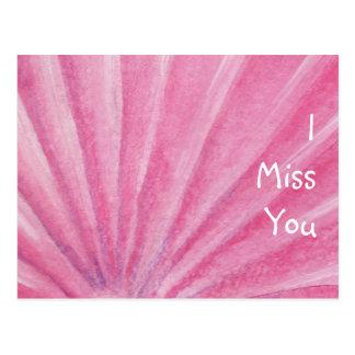 I Miss You Pink Seashell Watercolor Postcard