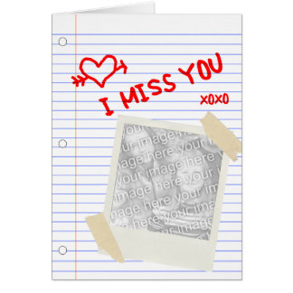 i miss you : polaroid paper note card