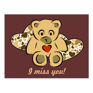 """I miss you!"" Teddy Bear Postcard"