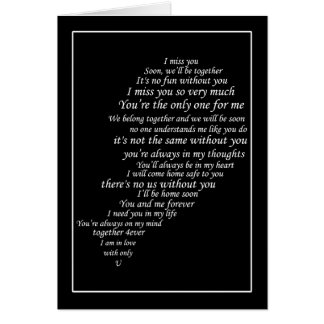 I Miss You  Text, too,  in Half of Heart Card
