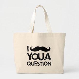 I moustache you a question (distressed design) canvas bags