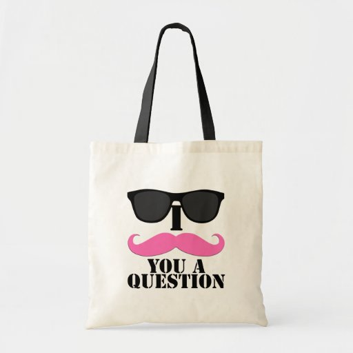 I Moustache You A Question Pink with Sunglasses Canvas Bags