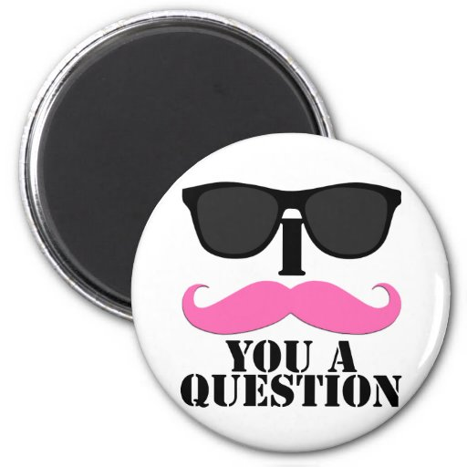 I Moustache You A Question Pink with Sunglasses Magnets