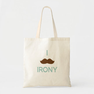 I mustache irony tote bag
