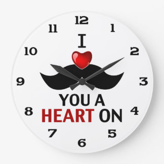 I Mustache You a Heart On Large Clock