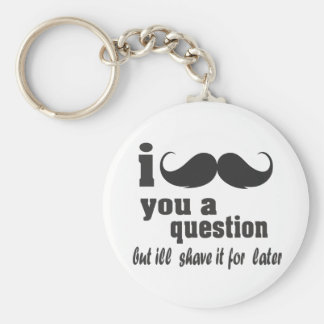 i mustache you a question basic round button key ring