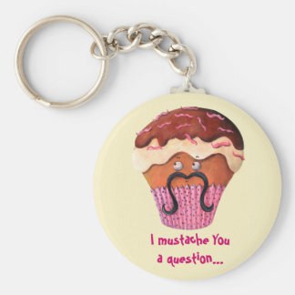 I Mustache you a question Cupcake Basic Round Button Key Ring
