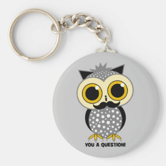 I mustache you a question owl basic round button key ring