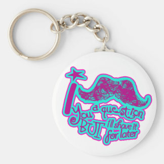 I mustache you a question pink purple light blue basic round button key ring