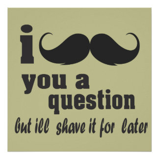 I mustache you a question posters