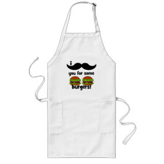 I mustache you for some burgers! long apron