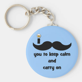 I mustache you to keep calm and carry on basic round button key ring
