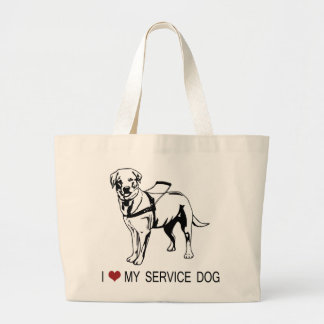 I ❤ my Service Dog words graphic Tote Bags