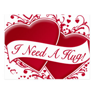 I Need A Hug Red Hearts Post Card