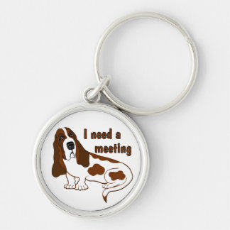 I Need A Meeting Silver-Colored Round Key Ring